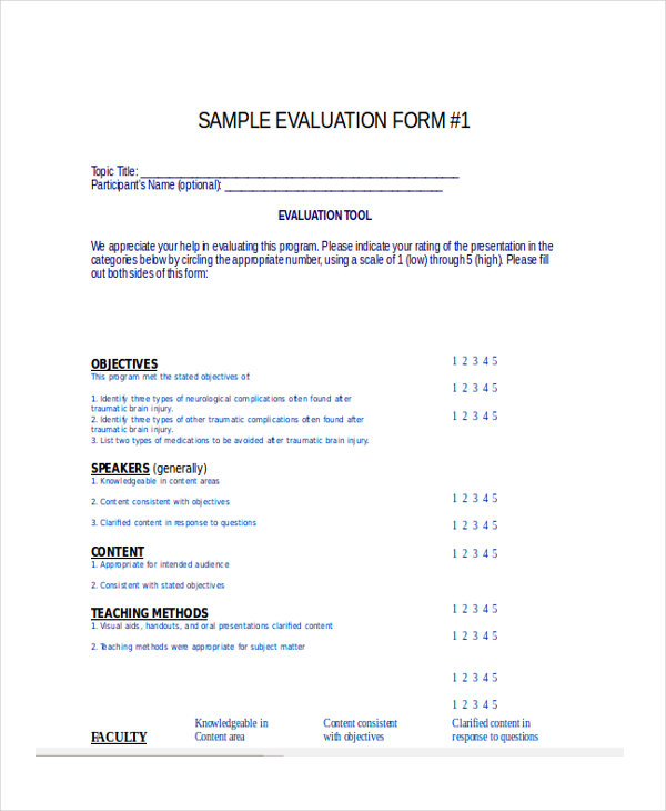 7 restaurant evaluation forms free sample example format download