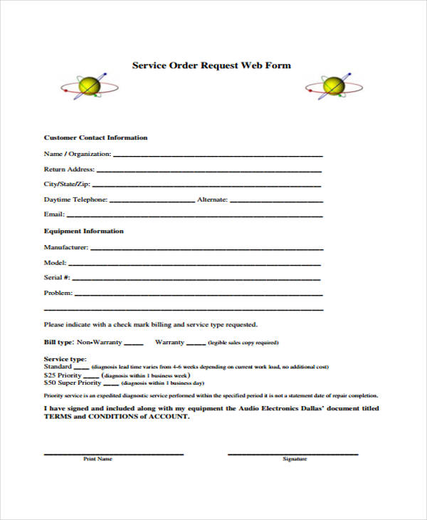 service order request web form