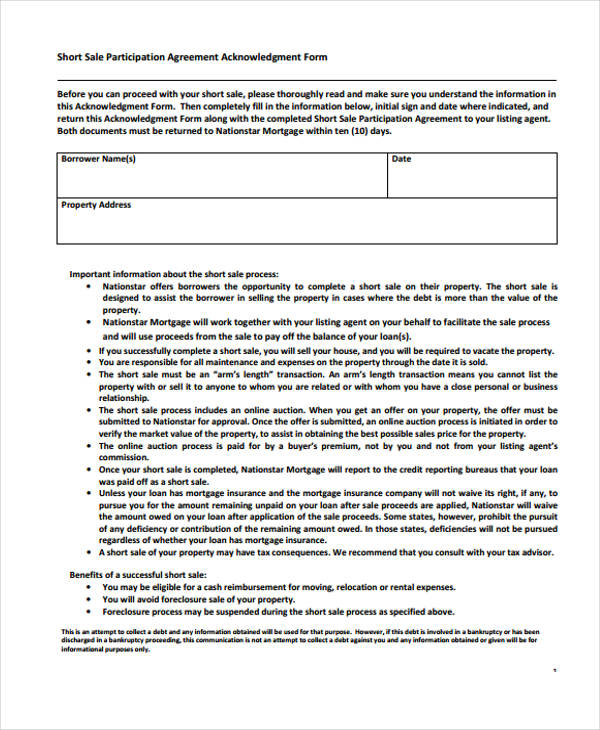 short sales participation agreement form1