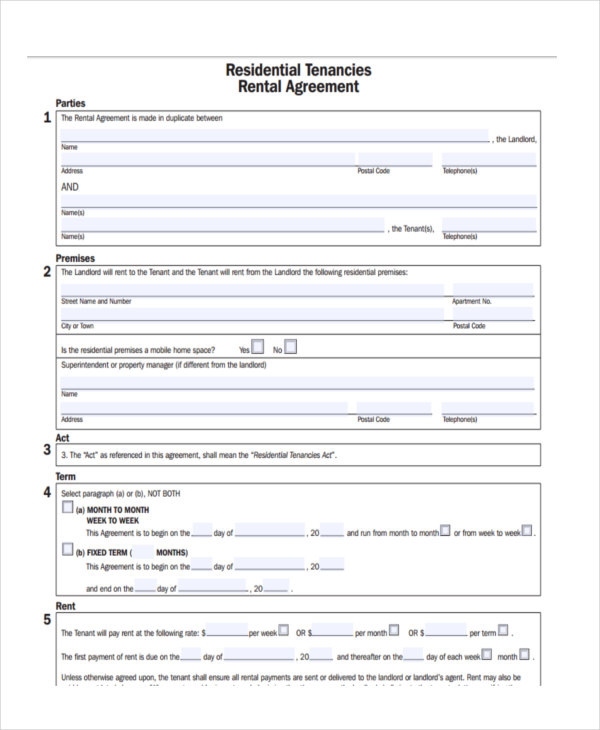 House Rental Contract Forms  Free Sample Example Format Download