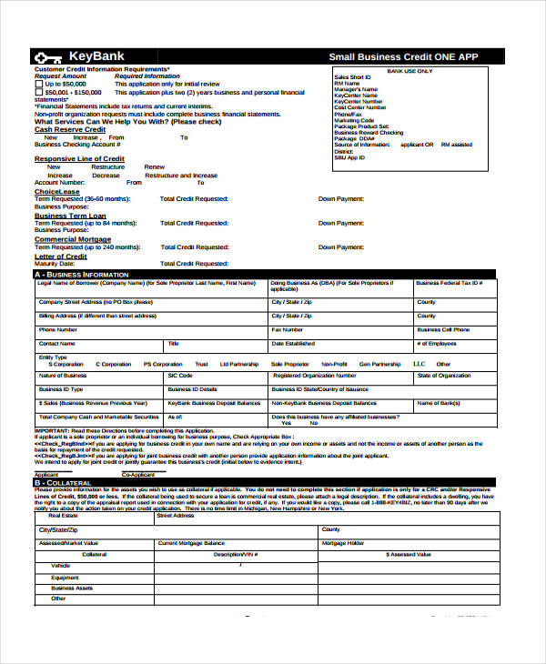 business credit application forms