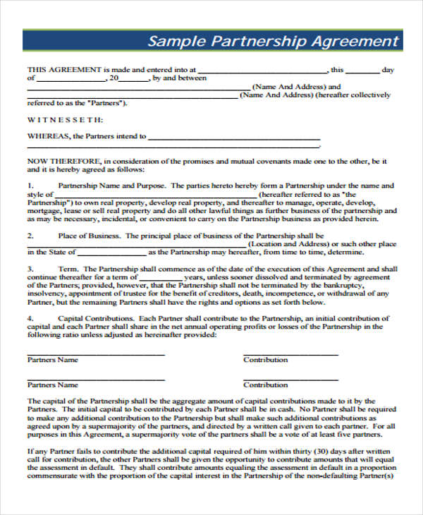 small business partnership agreement form1