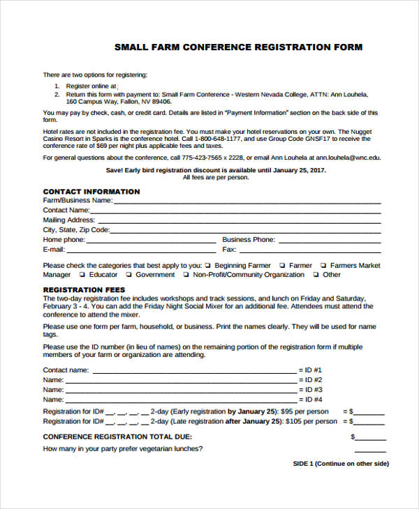 small farm conference registration form