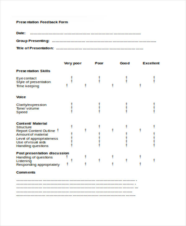 small group presentation feedback form