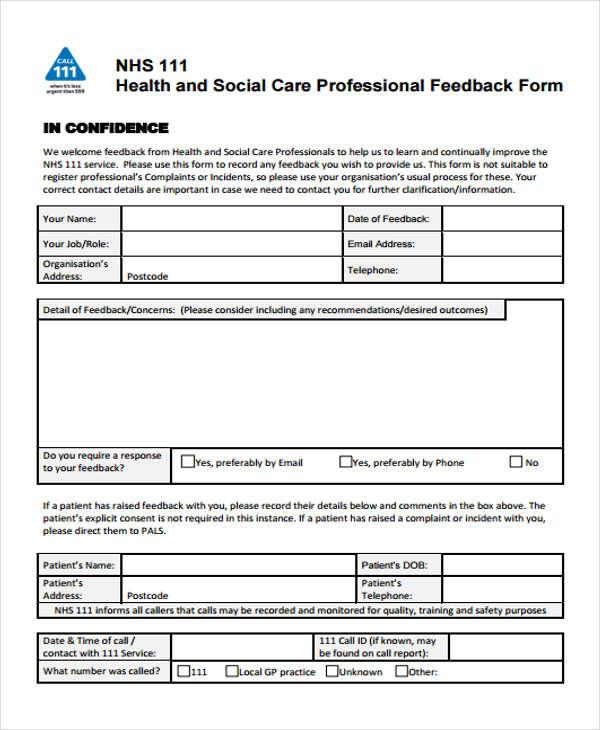 social care professional form