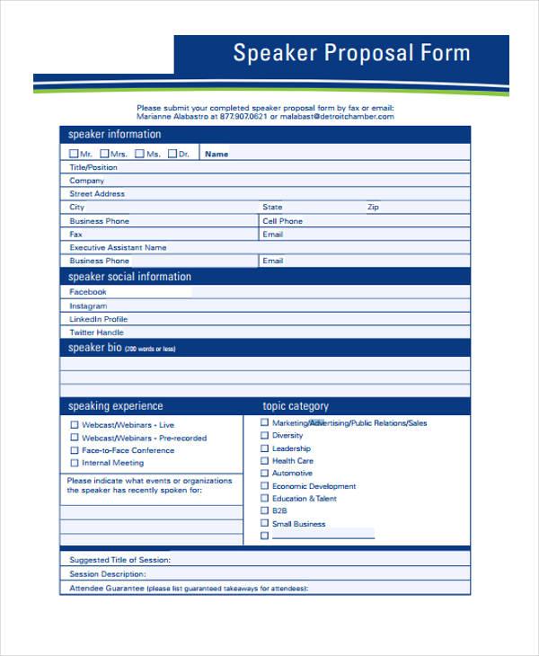 speaker advertising proposal form