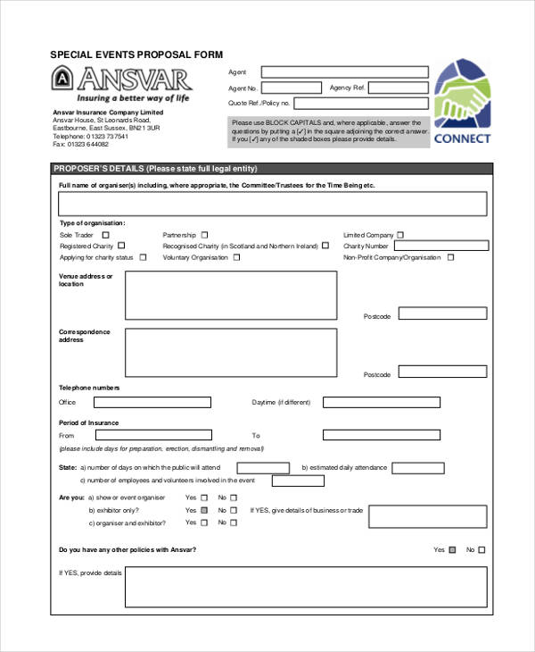 special events insurance proposal form