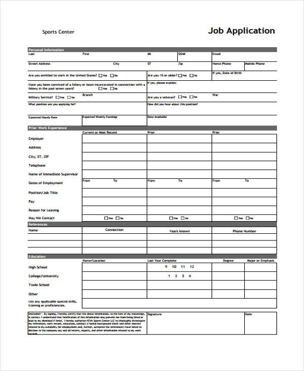 Free Job Application Form Template