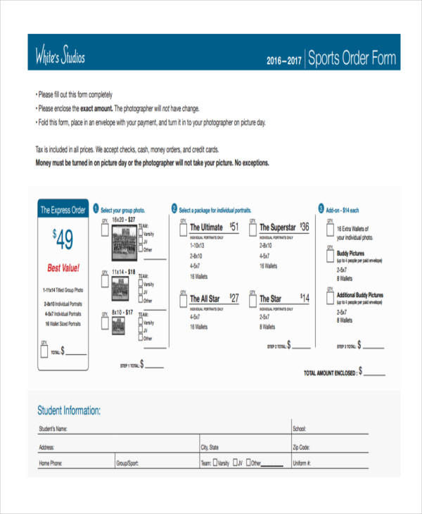 sports package form