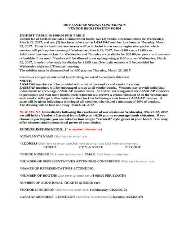spring conference vendor registration form