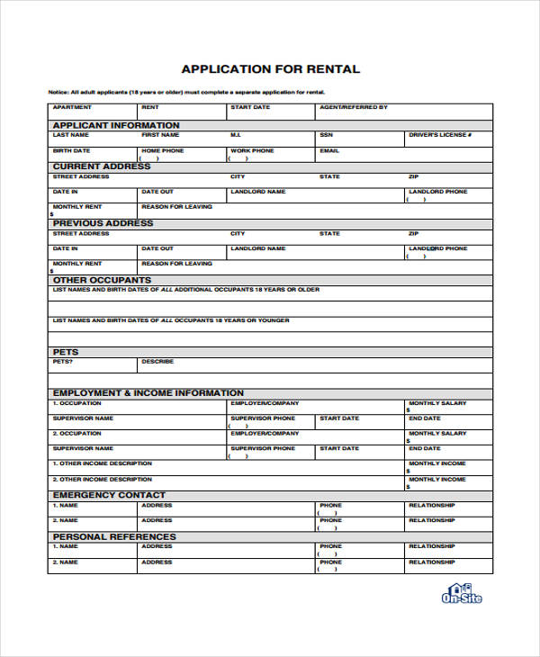 standard apartment rental application form
