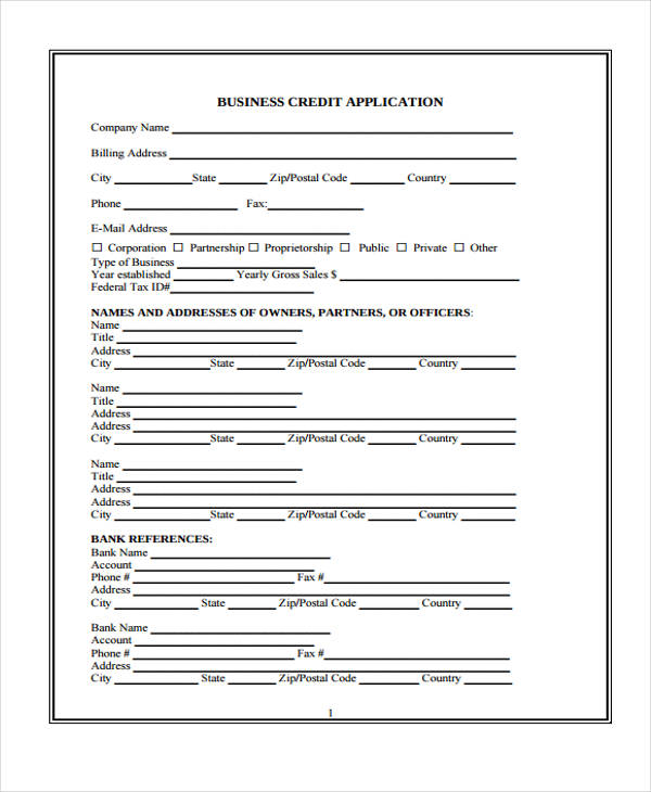 9 business credit application form free sample example for Standard credit application template