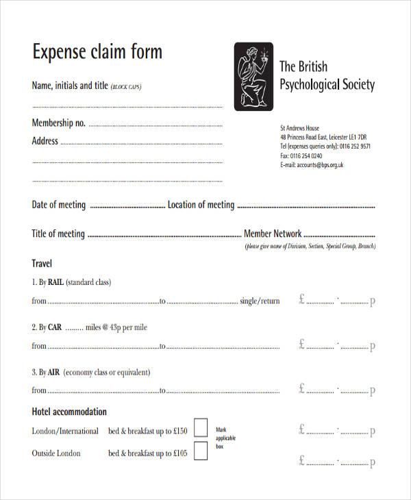 standard claim form