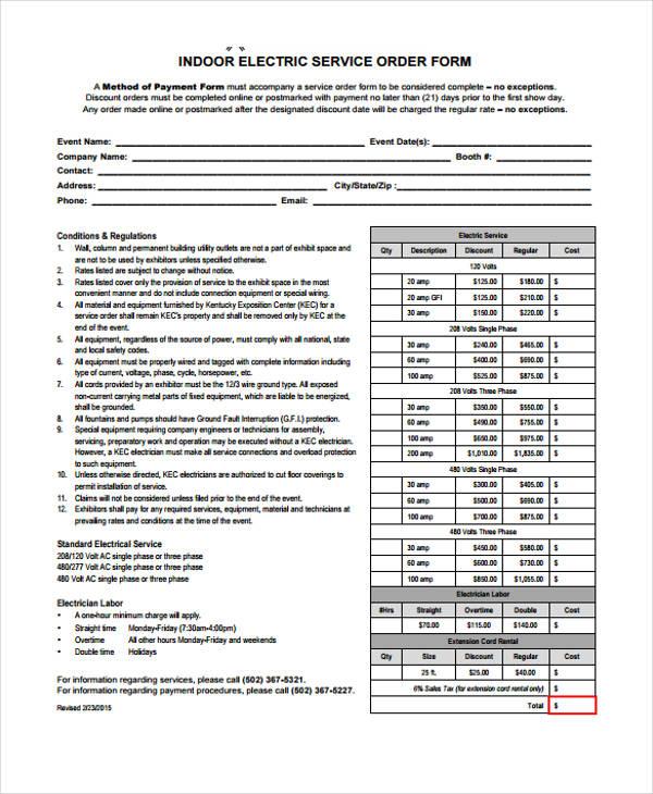 standard electrical service order form1
