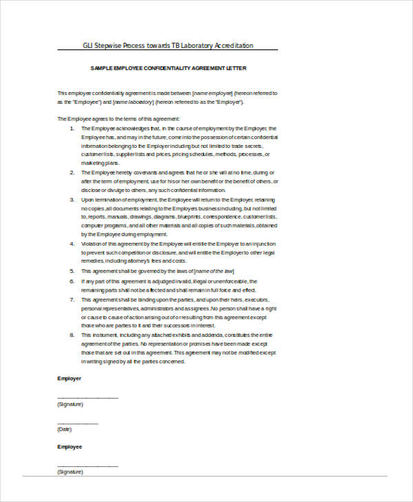 standard employee confidentiality agreement form