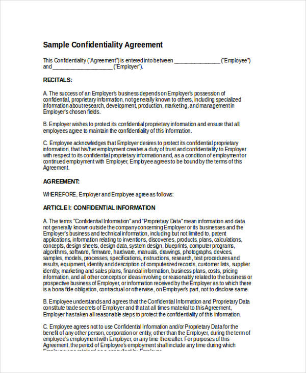 standard employment confidentiality agreement form