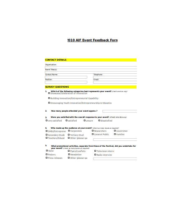 standard event feedback form