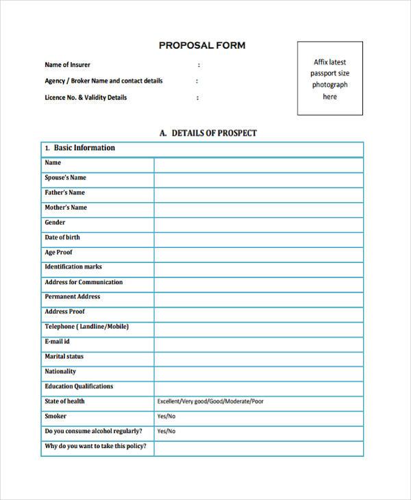 standard life insurance proposal