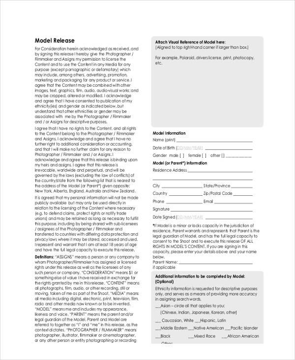 standard model release form1