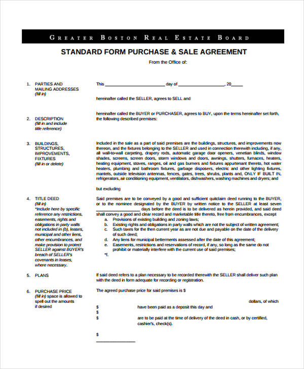 standard purchase sales agreement form
