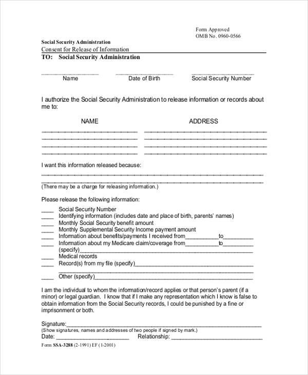 standard release information form