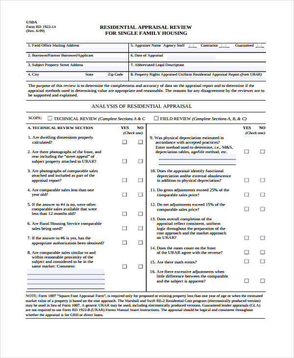 7+ Sample Residential Appraisal Form - Free Sample, Example ...