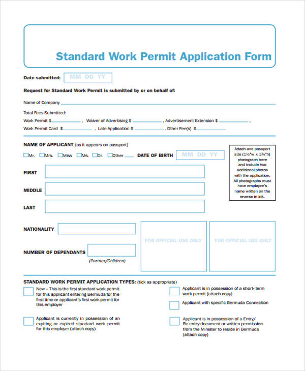 standard work permit application form