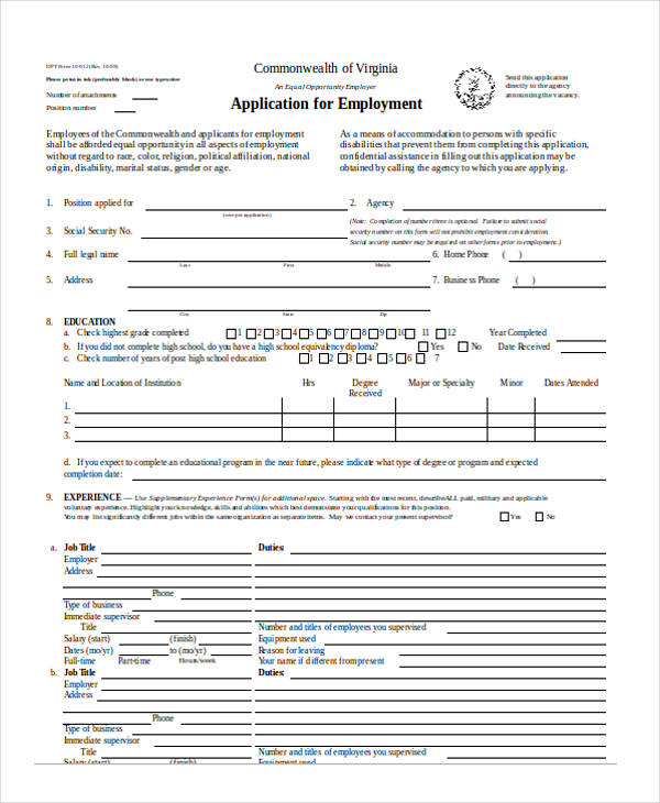 11 Employee Application Form Samples, Examples Format Download
