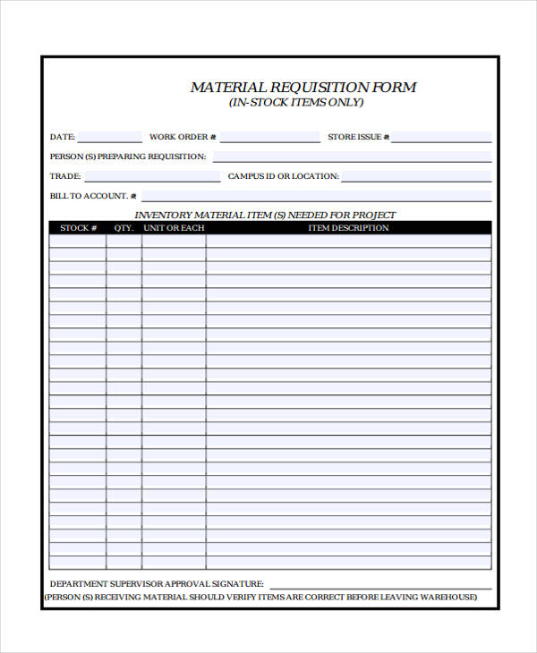 Material Requisition Form Sample  Free Sample Example Format