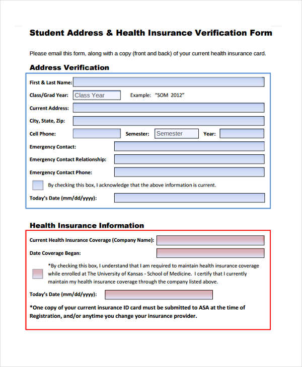 student address health insurance verification form