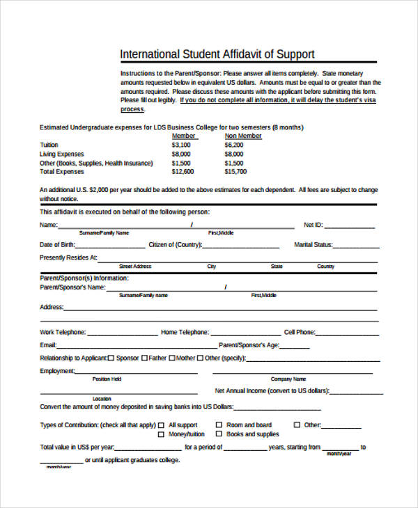 Affidavit Support Form Sample  Free Sample Example Format