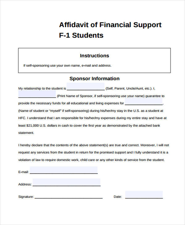 Nice Student Affidavit Of Financial Support Form