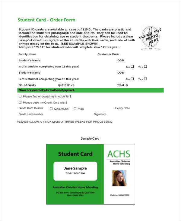 student card order form
