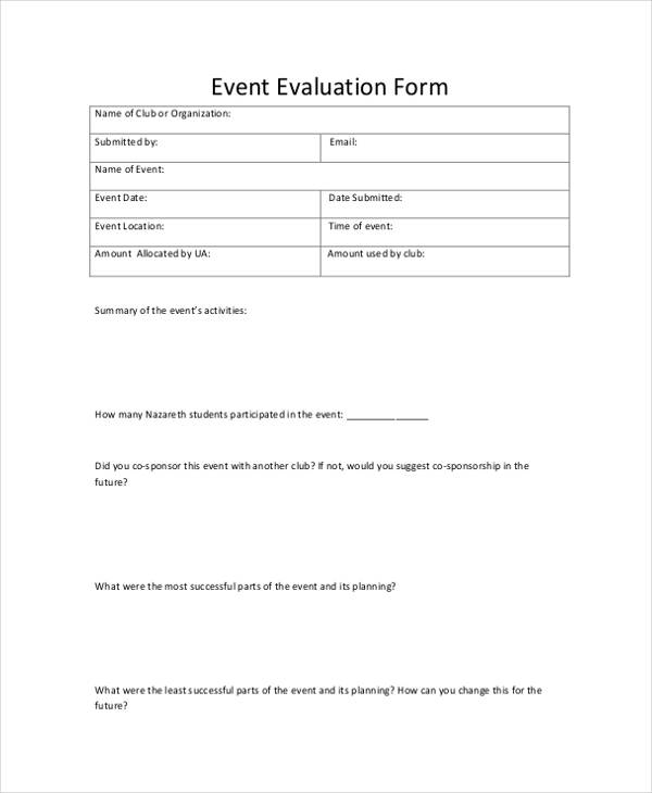 student club event evaluation form