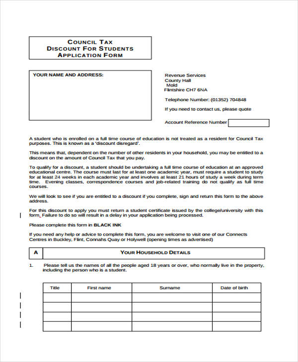student council tax application form