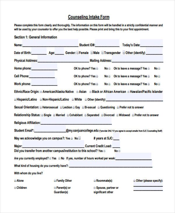 student intake form template 48 counseling form examples