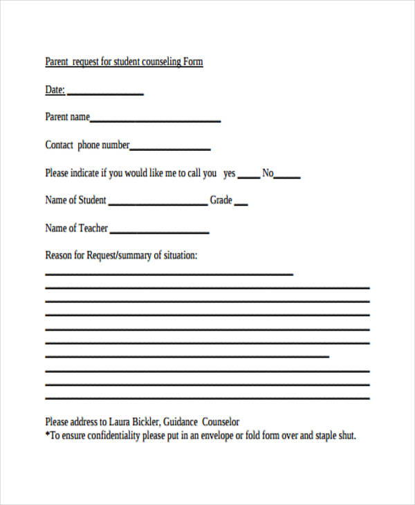 Student Request Form Student Counseling Request Form Counseling