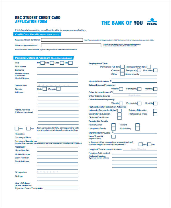 student credit card application form