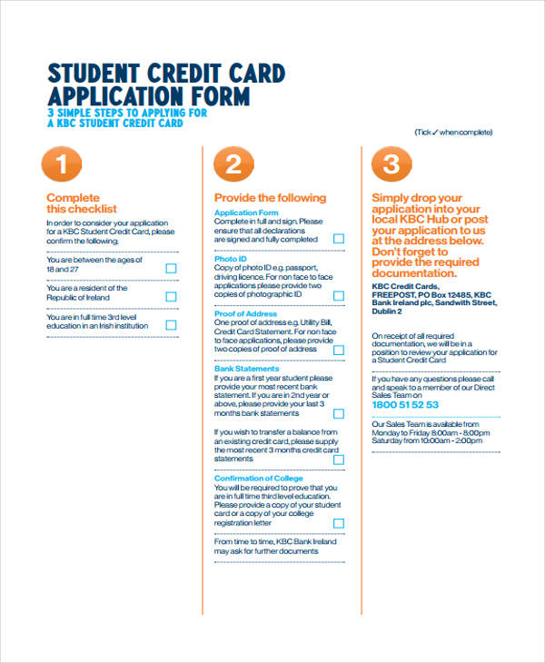 student credit card application form1