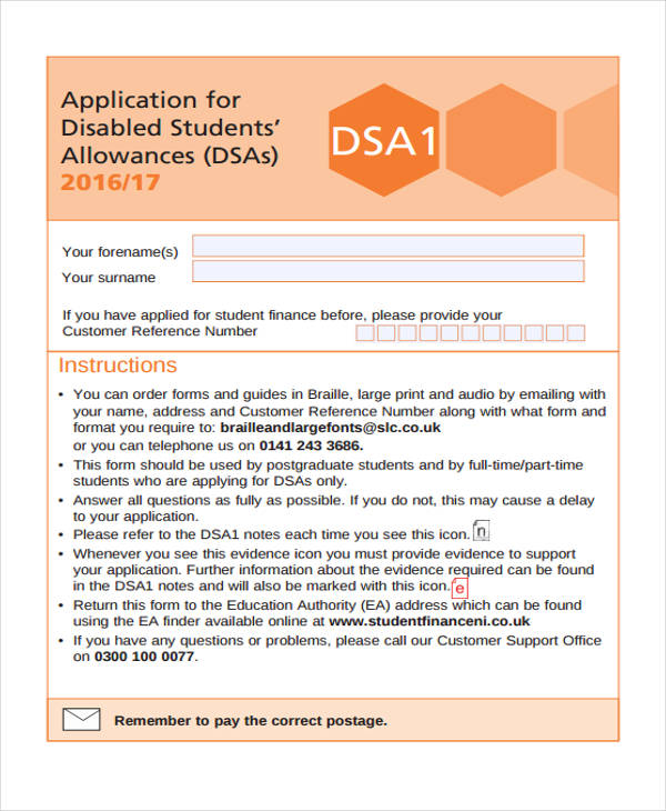 student disability allowance application form1