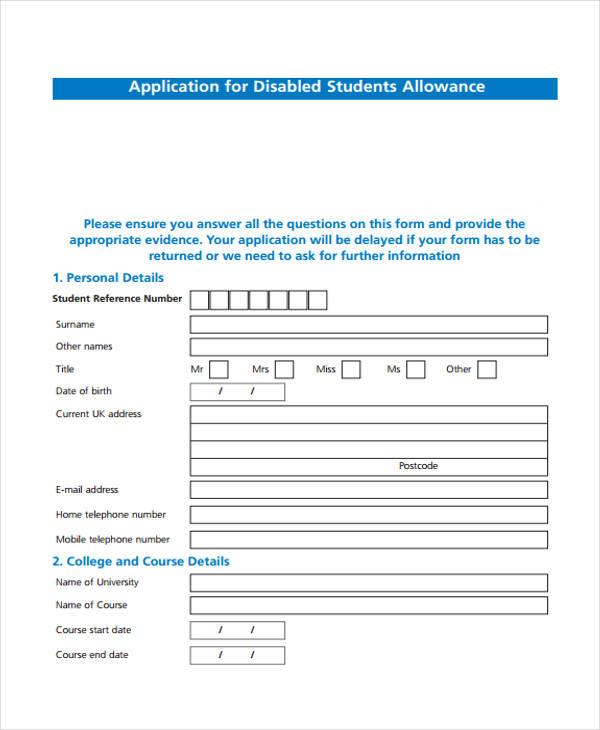 student disability allowance application form2