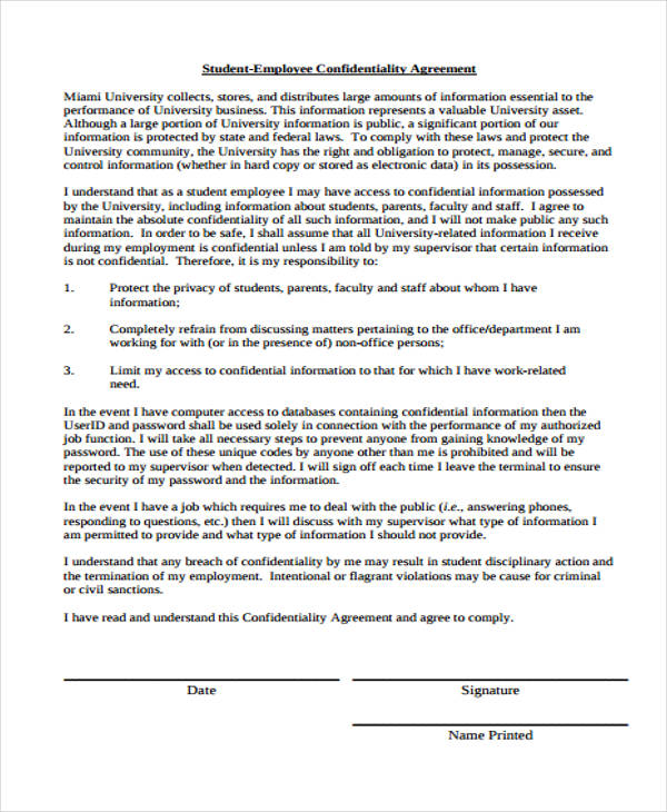 student employee confidentiality agreement form