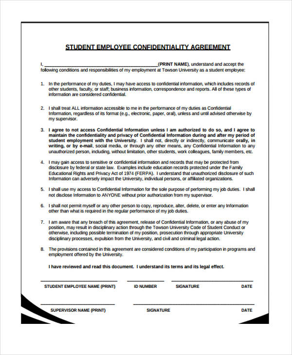 Confidentiality Agreement Form Template  Free Documents In