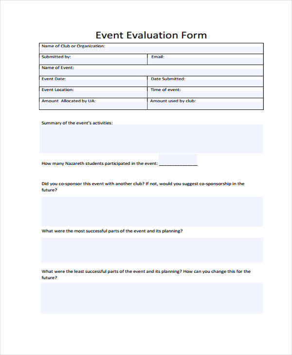 student event evaluation form
