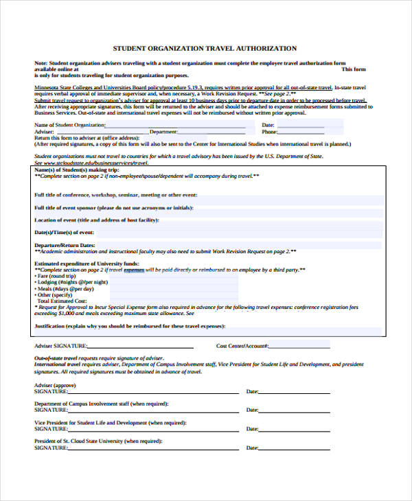Travel Authorization Form Example. Student Travel Authorization
