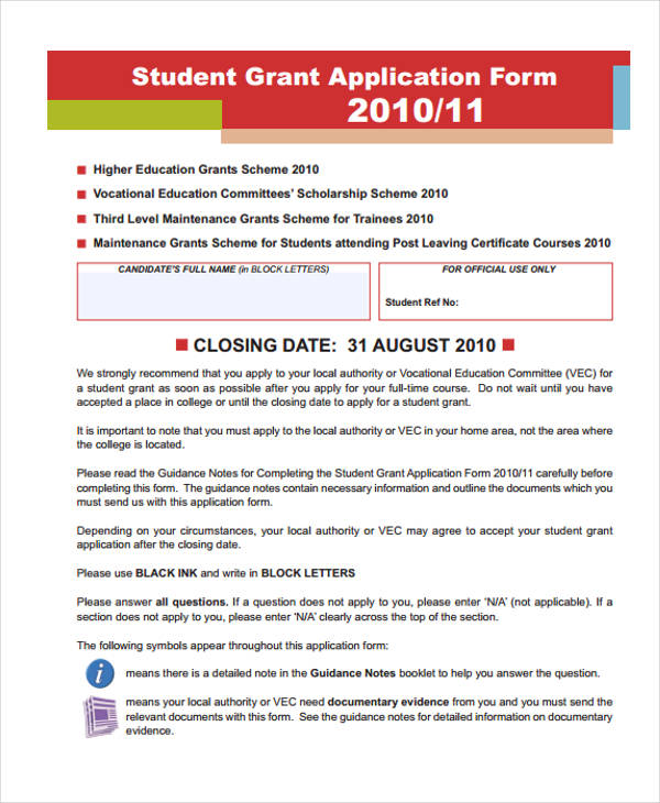 student finance grant application form