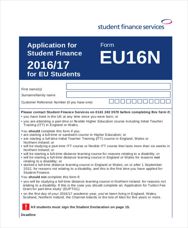 student finance paper application form