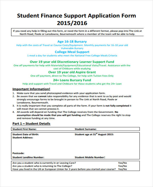 student finance support application form1