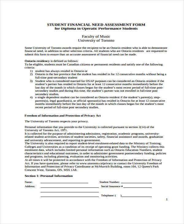 student financial needs assessment form1