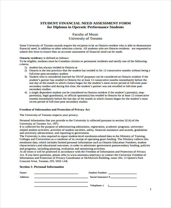 student financial needs assessment form2